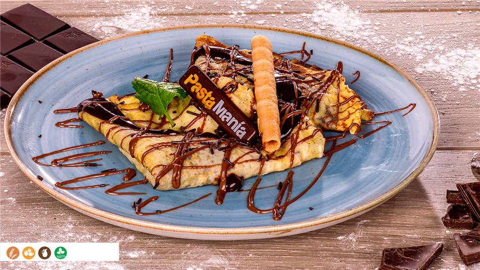 Crepes con salsa de chocolate